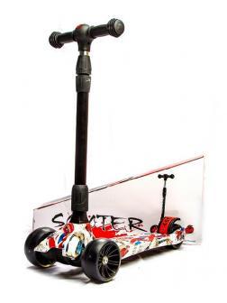 Самокат детский складной Scooter «MAXI Граффити» с широкими светящимися колесами (PY-222) / Микс