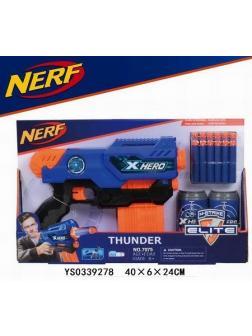 Бластер Нёрф THUNDER с мягкими пулями и 2 банки-мишень 33х6х27.5см аналог