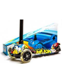 Самокат детский Scooter МИНИ Принт, не складной, 6 ярких расцветок, устойчивые всетящиеся колеса 120мм, заднее широкое колесо 80мм, регулировка руля по высоте.