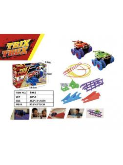 Гоночные машинки Монстр-Трак Trix Truk с трассой 2 машинки, трамплин волна тросс брусья в кор. 38.6х7.5х25см.