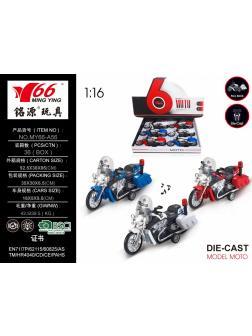 Мотоцикл инерция металл + звук 6шт в упаковке размер 16х5х9.5см