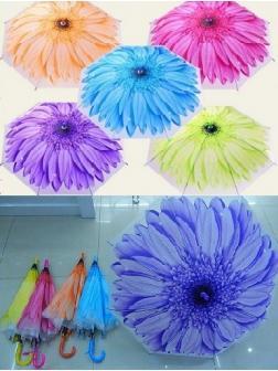 Зонтик детский Цветок матовый 5 цветов, анатомическая ручка.