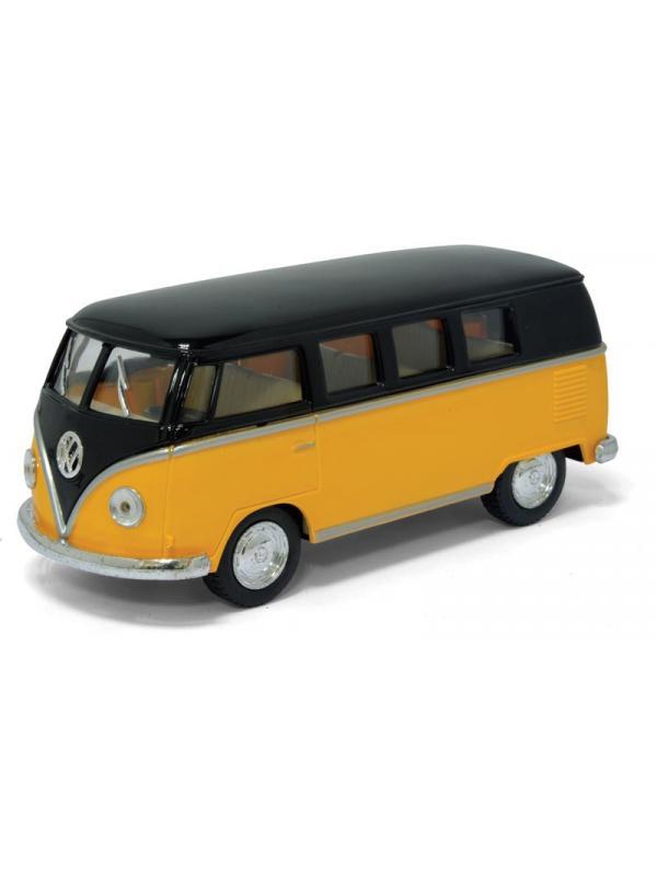 Инерционная металлическая машинка Kinsmart «Volkswagen Classical Bus с черной крышей 1962» 1:32 / KT5376D