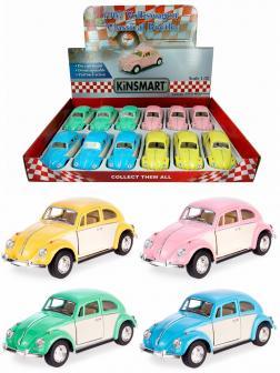 Металлическая машинка Kinsmart 1:32 «1967 Volkswagen Classical Beetle (Пастельные цвета с бежевыми дверями)» KT5375DY инерционная / Микс