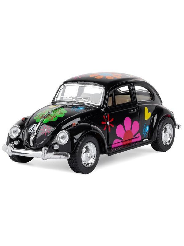 Металлическая машинка Kinsmart 1:32 «1967 Volkswagen Classical Beetle с принтом» KT5057DF, инерционная / Микс