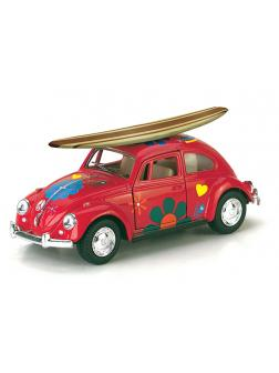 Металлическая машинка Kinsmart 1:32 «1967 Volkswagen Classical Beetle w/ wooden surfboard» KT5057FS1, инерционная / Микс