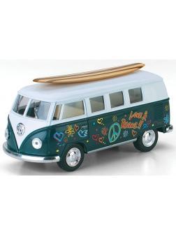Металлическая машинка Kinsmart 1:32 «Volkswagen Classical Bus (Off road, серфинг)» KT5060DFS1, инерционная