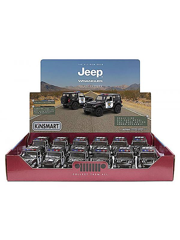 Металлическая машинка Kinsmart 1:34 «2018 Jeep Wrangler (Police)» KT5412DP, инерционная