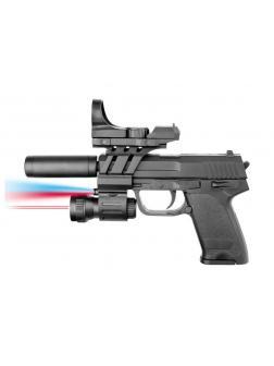 Пистолет пневматический с прицелом, глушителем, фонариком и лазерным прицелом, в пакете 043BP-BB