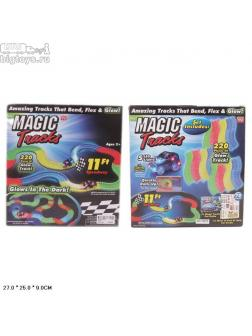 магический гибкий трек (220 дет.+свет+машинка на бат.)  в кор.