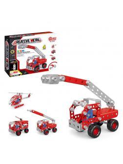 Конструктор металлический с инструментами «Пожарная машина/вертолет» 1202 / 121 детали