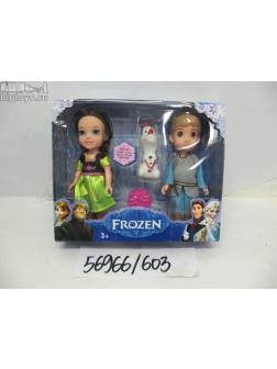 Куклы Холодное сердце 2шт. с аксессуарами и снеговикиком 603-2