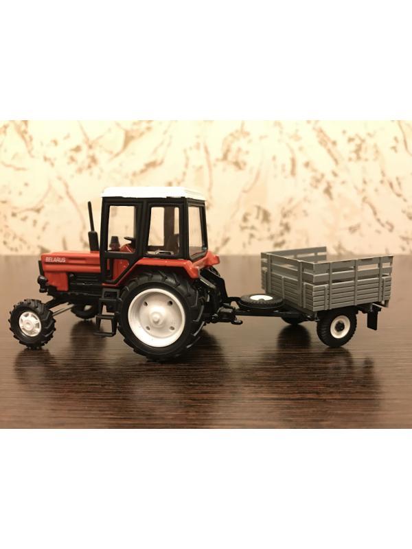 Игрушечный металлический трактор с прицепом 1:43 «Беларусь МТЗ-82» 160376 / Красный с белой крышей