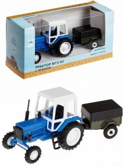 Игрушечный трактор с прицепом 1:43 «Беларус МТЗ-82» 160013 Синий / Белый