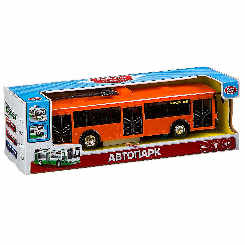 Инерционный троллейбус Play Smart 1:43 «ЛиАЗ-5292» 28 см. 9690-B Маршрут / Оранжевый