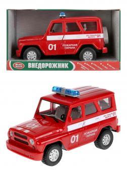 Внедорожник инерционный Play Smart 1:24 «УАЗ Hunter Пожарная охрана» 9076-E Автопарк, свет и звук