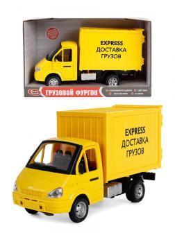 Машина инерционная Play Smart 1:27 «ГАЗель Грузовой фургон: Express Доставка грузов» 21 см. 9077-E, свет и звук