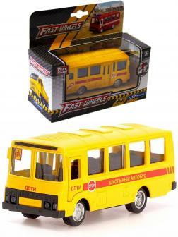 Металлическая машинка Play Smart 1:52 «ПАЗ 3237 Школьный автобус» 12 см. 6523-D Автопарк, инерционная