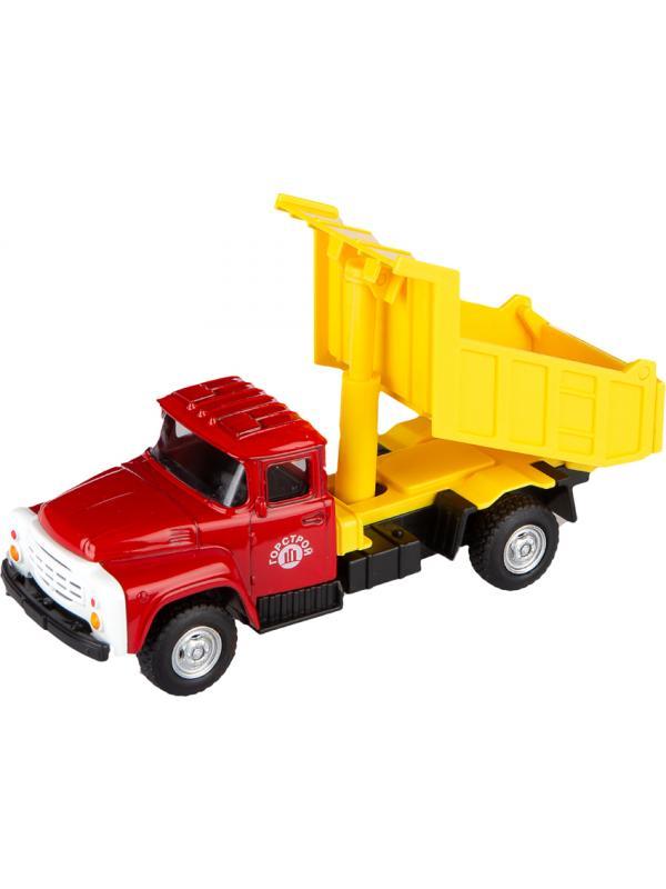 Машинка металлическая Play Smart 1:52 «Самосвал ЗИЛ ГорСтрой» 15 см. 6517-A Автопарк, инерционная / Красно-желтая