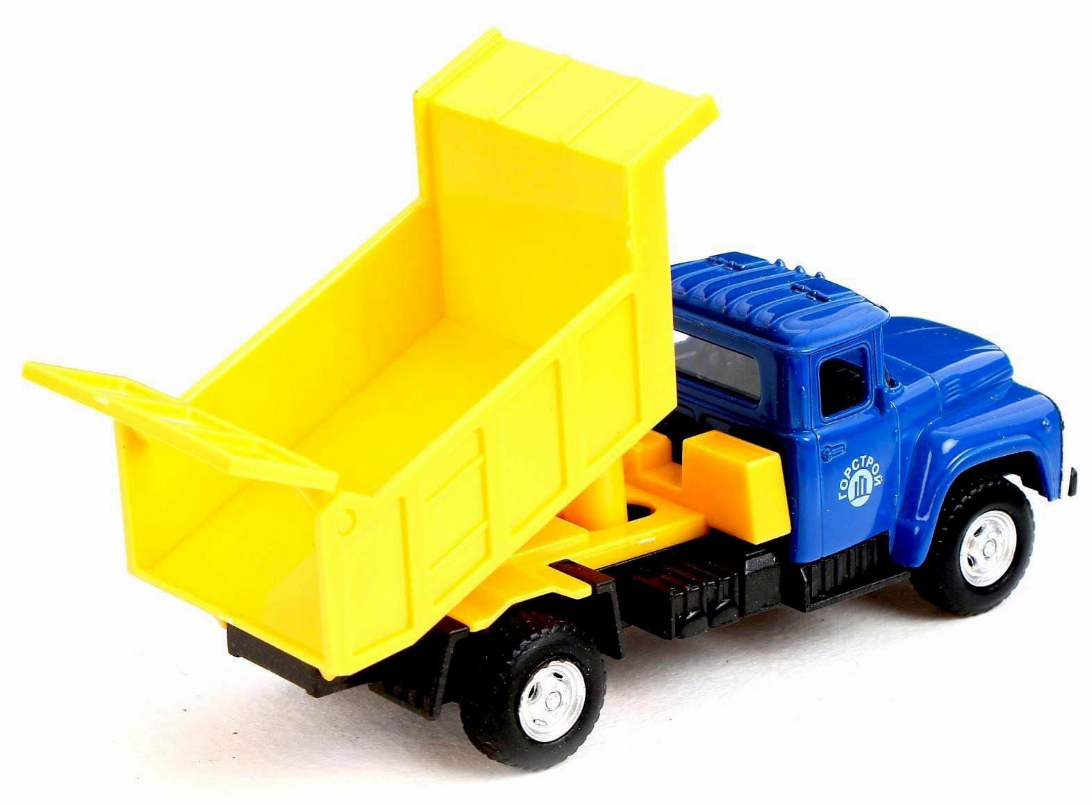 Машинка металлическая Play Smart 1:52 «Самосвал ЗИЛ-130 ГорСтрой» 15 см. 6517-С Автопарк, инерционная / Желто-синий