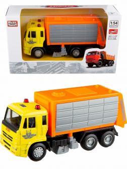 Машинка металлическая Play Smart 1:54 «Камаз: Дорожно - уборочная машина» 6515-D Автопарк / Желто-оранжевый