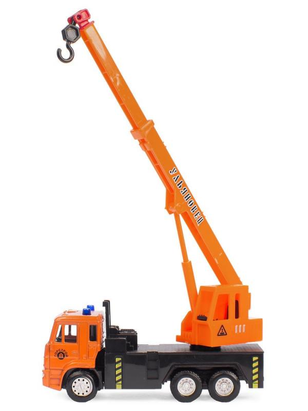 Металлическая машинка Play Smart 1:54 «Автокран Камаз Ульяновец МКТ-50» 15 см. 6510-B Автопарк, инерционный / Оранжевый