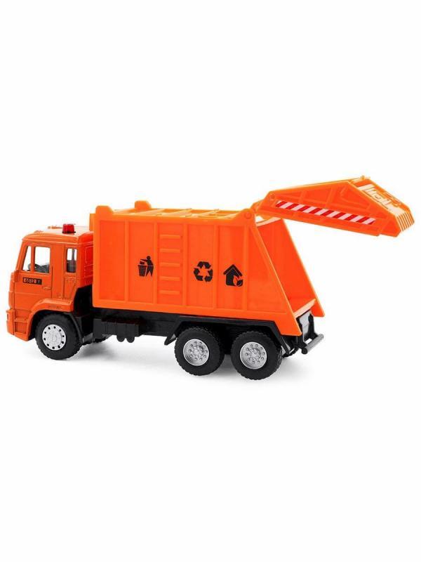 Металлическая машинка Play Smart 1:54 «Камаз 5360 Мусоровоз» 15 см. 6512-A Автопарк / Оранжевый
