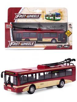Металлический троллейбус Play Smart 1:72 «ЛиАЗ-5292» 16 см. 6407-C Автопарк / Красный