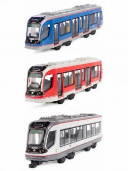 Металлический трамвай Play Smart 1:50 «Трамвай современный» 17,5 см. 6583D, инерционный / 3 шт.
