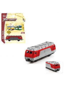 Инерционный локомотив Play Smart 1:64 «Тепловоз» 8 см. 6596 / Красно-серый
