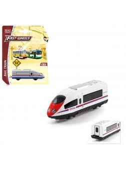 Металлическая машинка Play Smart 1:64 «Скоростной поезд» 8 см. 6597 / Белый