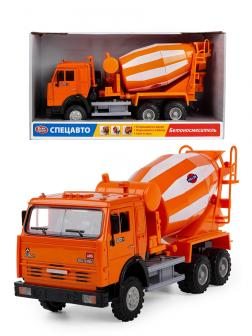 Машина инерционная Play Smart 1:34 «КАМАЗ: Бетономешалка» 9117-A, свет и звук / Оранжевый