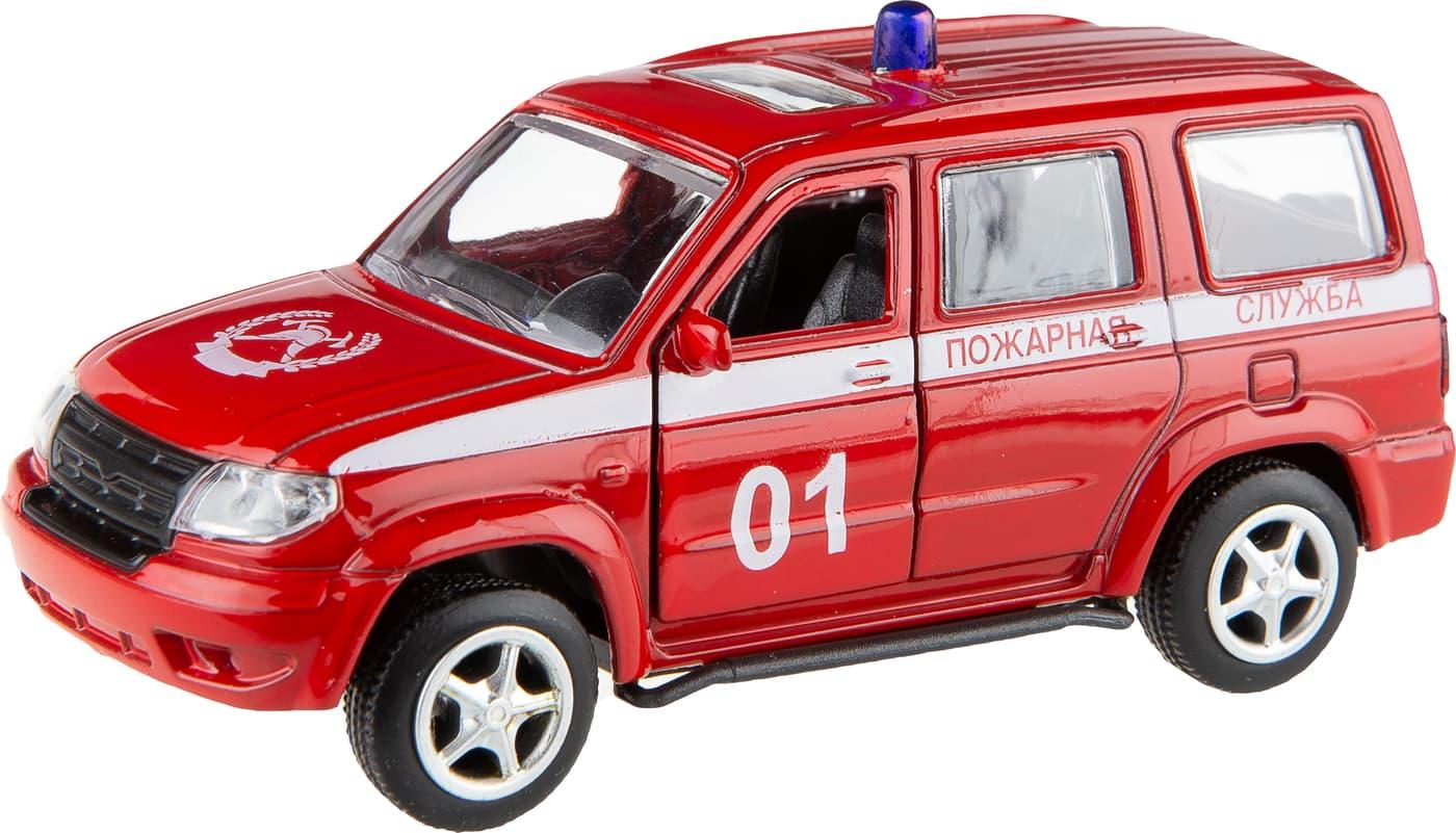 Металлическая машинка Play Smart 1:50 «УАЗ Патриот: Пожарная служба» 10 см. 6403-F Автопарк, инерционная