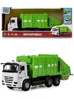 Машина инерционная Play Smart 1:38 «Камаз 65115 Мусоровоз» 9623-A Автопарк, свет и звук / Зеленый