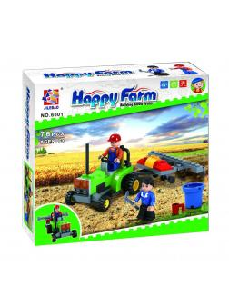 Конструктор JILEBAO Happy Farm «Трактор с плугом» 6001 / 84 детали