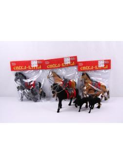 Набор игрушечных фигурок Play Smart «Сивка-Бурка лошадка с жеребятами» 3 шт. 2547/2548 / Микс