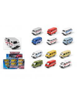 Металлическая машина Play Smart 1:64 «Фургон УАЗ/ГАЗ» инерционная 6592W (2 вида/12 цветов) / Микс
