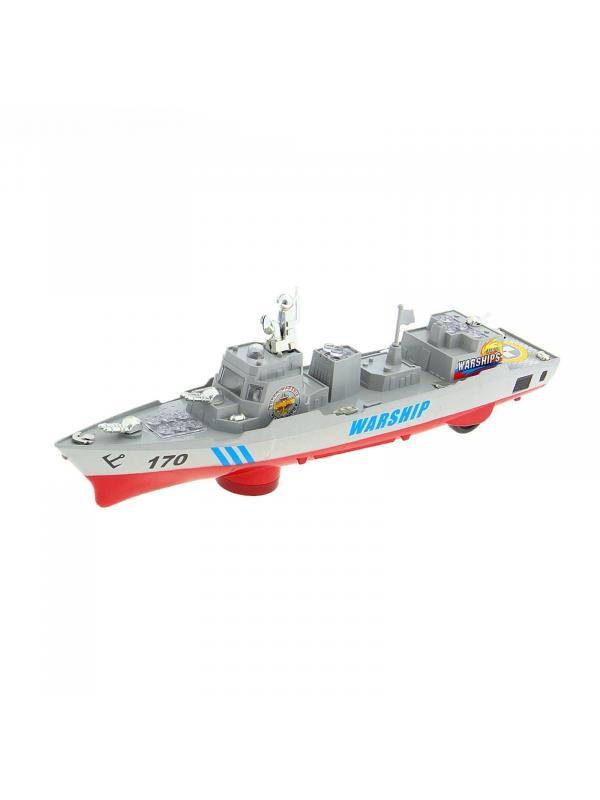 Игрушечный военный корабль Zhorya «Боевой катер» со звуком и светом на батарейках / ZYB-B1220-2