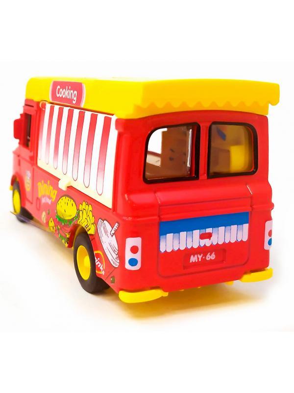 Машинка металлическая Ming Ying 66 1:36 «Кейтеринг автолавка: Фастфуд» Q2296 инерционная, открывающиеся двери, свет, звук