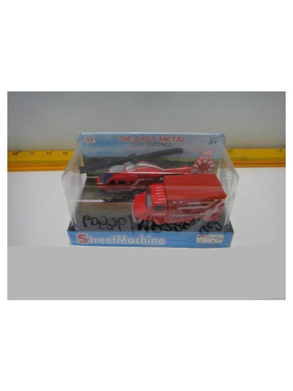 Металлическая машинка «Пожарный фургон + Вертолет» M8288P-2 / Комплект