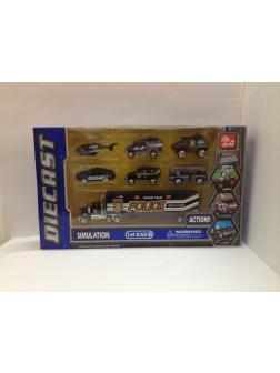 Металлическая машинка 1:64 «Транспорт полиции 6 шт. + трейлер» 80956-3SQ / Комплект
