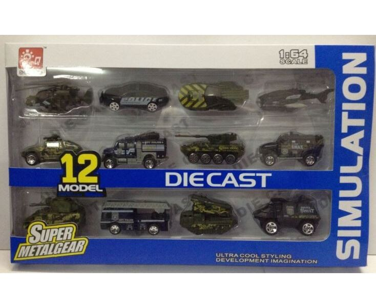 Металлическая машинка 1:64 «Транспорт полиции и армии» 80862-38SQ / Комплект 12 шт.