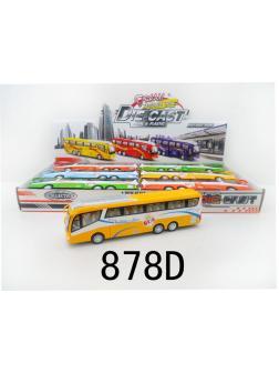 Металлическая машинка 1:55 «Автобус» 25 см. 878D свет и звук / Микс