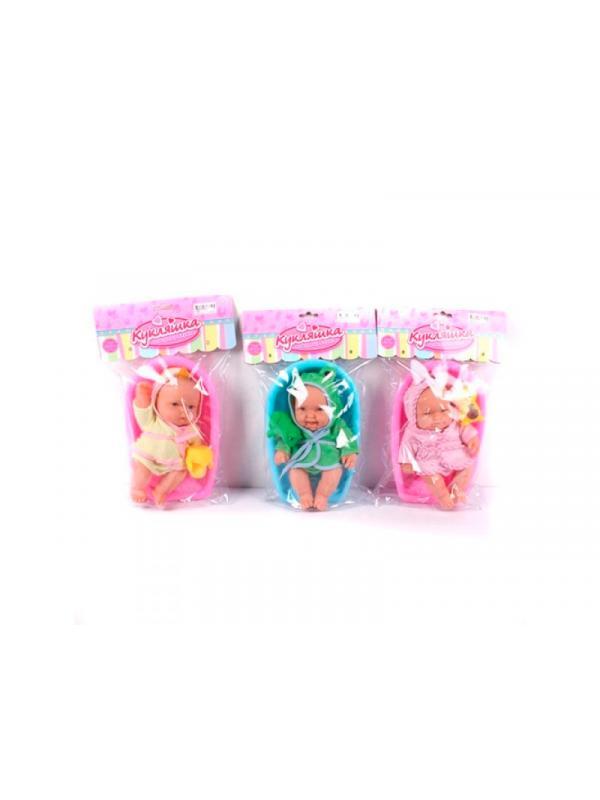 Пупсик Кукляшка в ванночке с аксессуарами в пакете, высота 23 см, 3 вида / Shantou Gepai