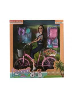 Кукла шарнирная на велосипеде в комплекте с аксессуарами / Liyang