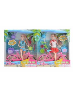 Кукла шарнирная на велосипеде в комплекте с аксессуарами, 2 вида / FuQier