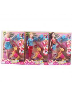 Кукла шарнирная с собачкой и аксессуарами в коробке, высота 30 см, 3 вида / Hayley