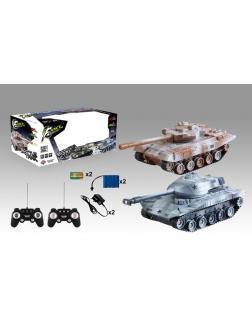 Танковый бой на радиоуправлении 1:32 в комплекте с зарядным устройством и аккумулятором в коробке  1:32 р/у танк,  27/40MHZ 220V