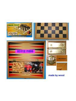 Шахматы, нарды, шашки 3 в 1, деревянные, 42х22 см.