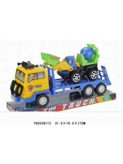 Грузовик перевозчик бульдозера  в блистере 31.5х10х17см